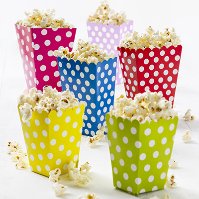 Kids Parties - Polkadot boxes with popcorn