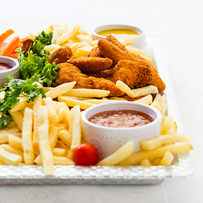 Adult catering at kids parties - Chip & Chicken Platter