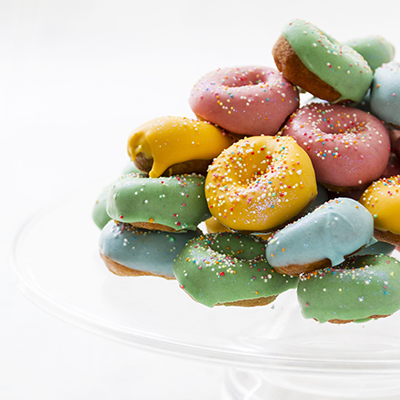 Adult catering at kids parties - Colorful Donuts Platter