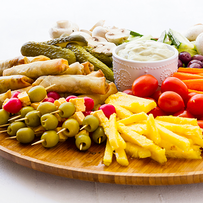 Adult catering at kids parties - Mediterranean Platter