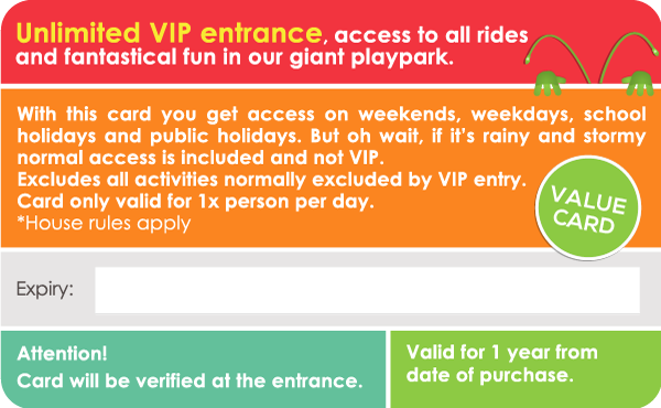 Grab a Bugz Membership Card today for unlimited VIP entrance, access to all rides and fantastical fun in our giant playpark for a whole year!