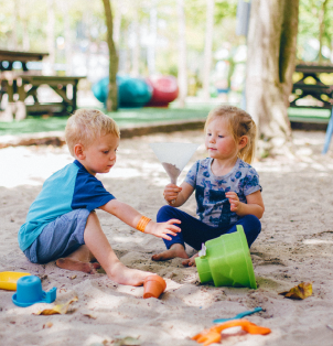 Sand play develop concepts like exploring, experimenting, measuring & constructing.