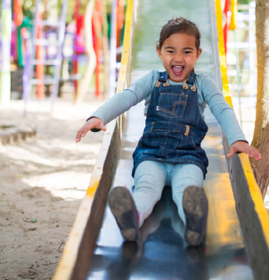 Slides give kids a full-body experience. They need balance, and use core muscles to ensure they don't slip.