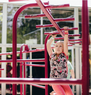 Twisting, turning, dangling, and swinging helps develop the flexibility and agility necessary for rotating the shoulders, elbows, wrists, and fingers.