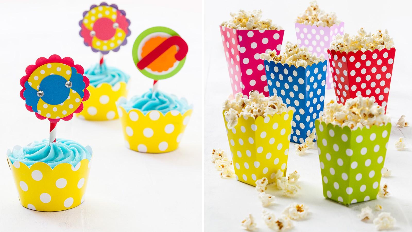 Candyland Cupcakes & Polka Dot Popcorn Boxes